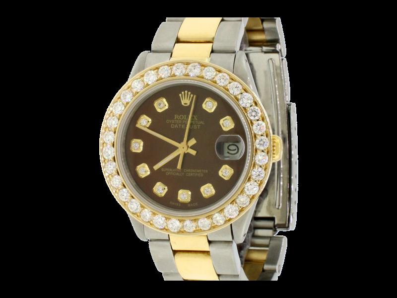 Rolex Datejust 31mm Yellow Gold/Steel Oyster Watch w/2.25Ct Diamond Bezel