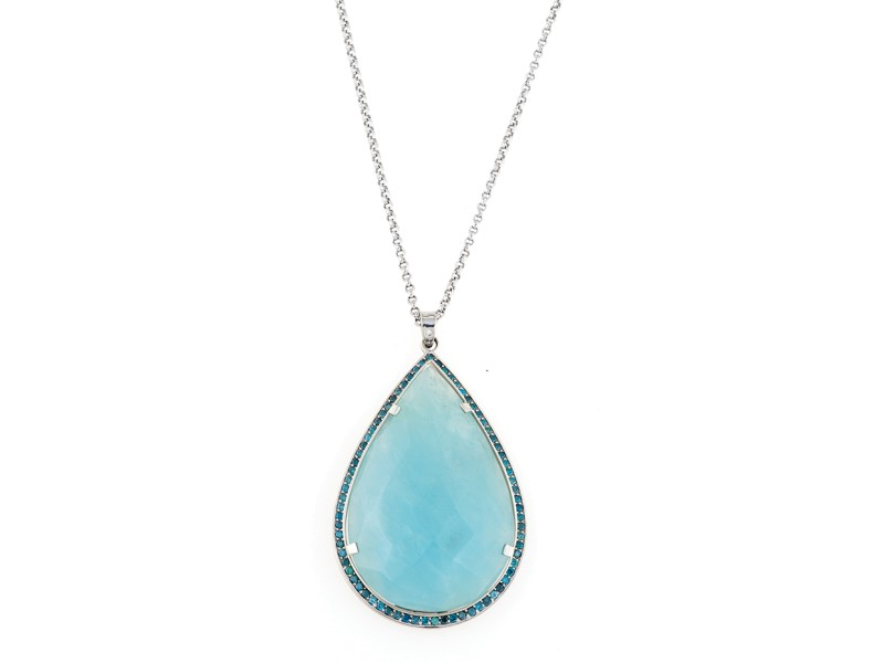 18K White Gold Aquamarine Chalcedony Nzari Necklace