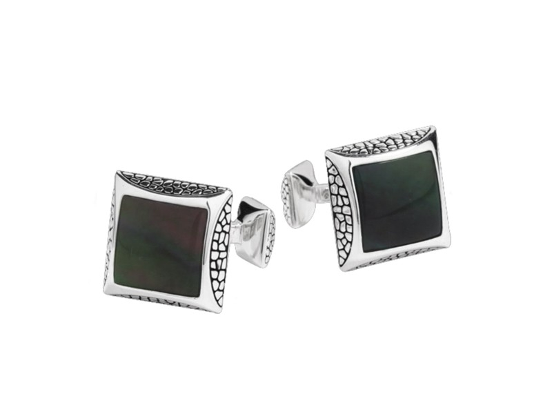 Stephen Webster Stainless Steel & Mother Of Pearl Cufflinks