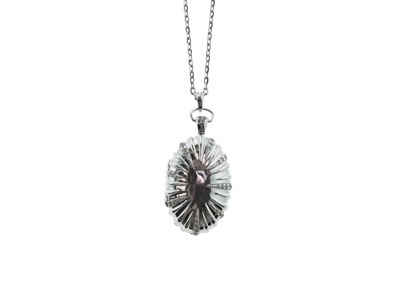 "Monica Rich Kosann Sterling Silver Sunburst Locket 32"" Chain"