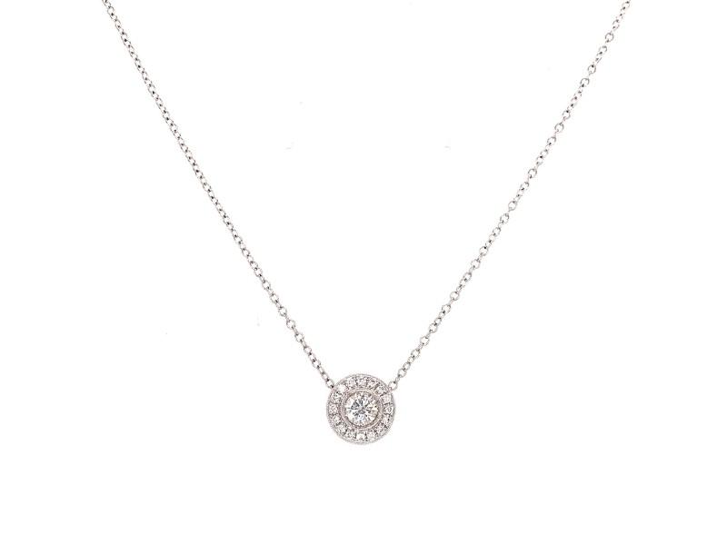 Diamond Pendant Necklace 18K White Gold Round 0.47 carat