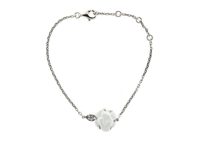 Chanel Ceramic and White Gold Camelia Flower Bracelet