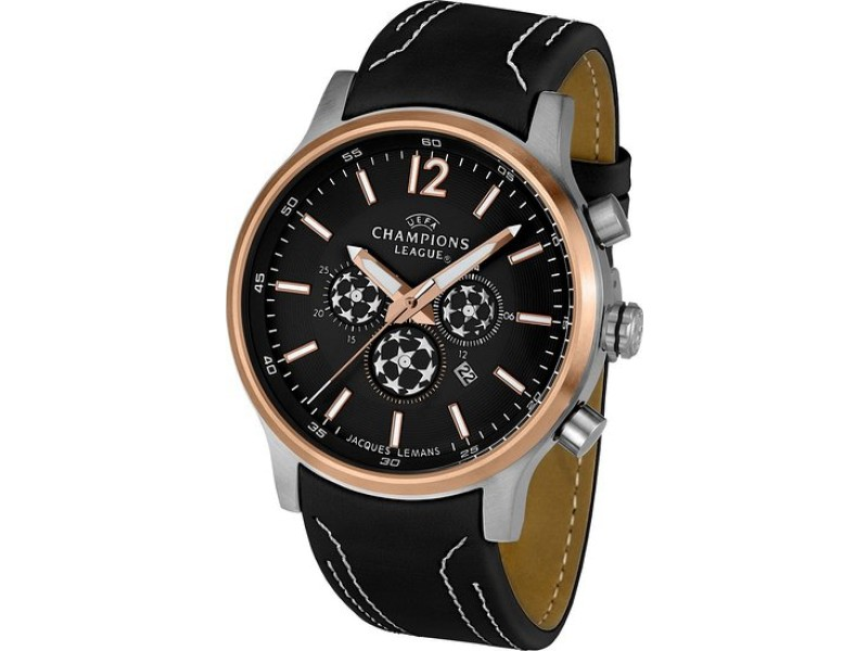 Jacques Lemans U39H Rose Gold Quartz Leather Strap Mens Watch