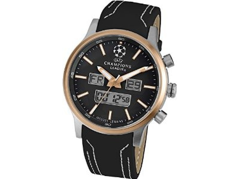 Jacques Lemans UEFA U40H Rose Gold Tone Case Leather Mineral Mens 49mm Watch