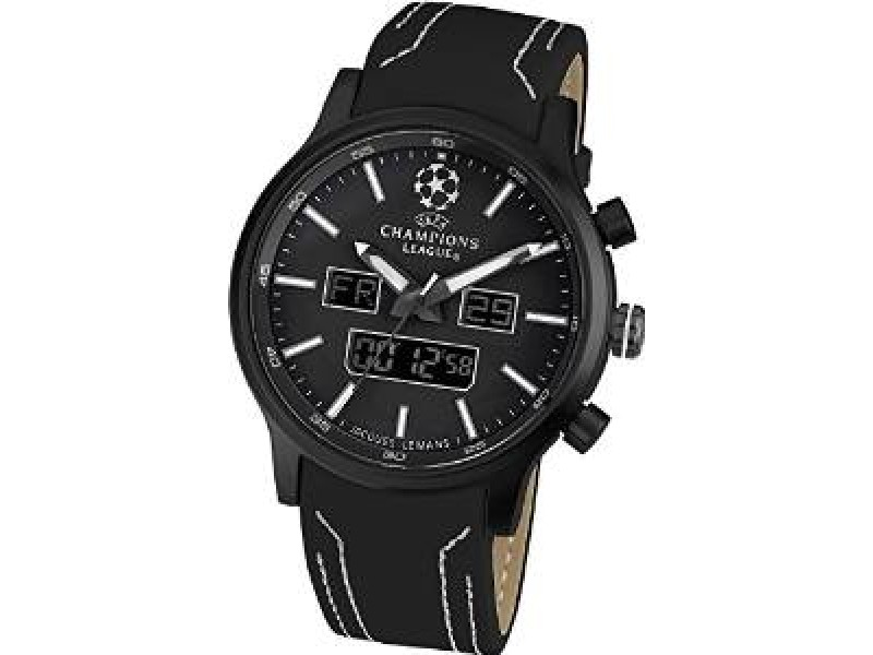 Jacques Lemans U40G UEFA Champions League Chronograph Black Leather Strap Mens Watch