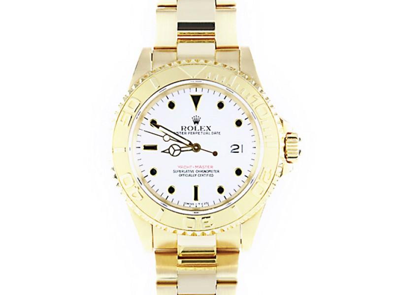 Rolex Yacht Master 18K Gold White Dial 40mm Mens Watch