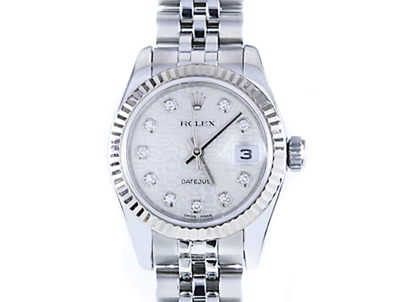 Rolex Datejust Jubilee Silver Diamond Dial 18K White Gold Fluted Bezel Watch