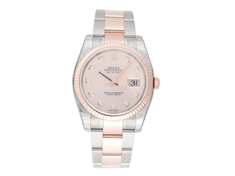 Rolex DateJust 116231 Stainless Steel and 18K Everose Gold Pink Diamond Dial 36mm Mens Watch