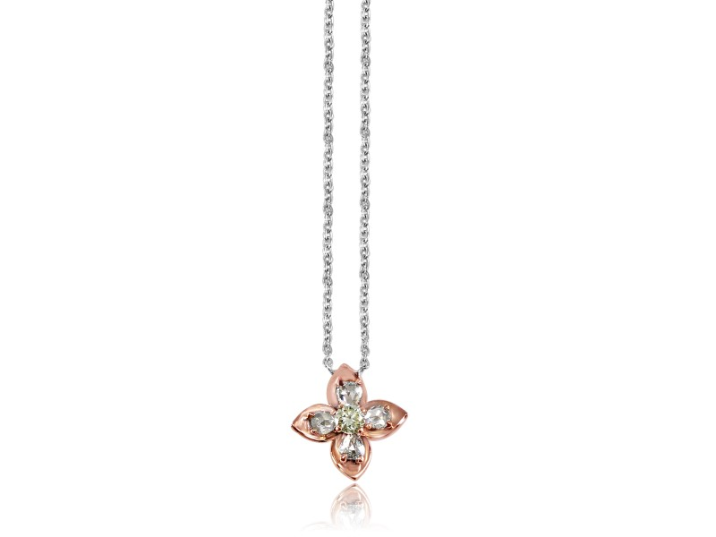 18k White Gold Rosecut Diamond Floral Pendant Necklace