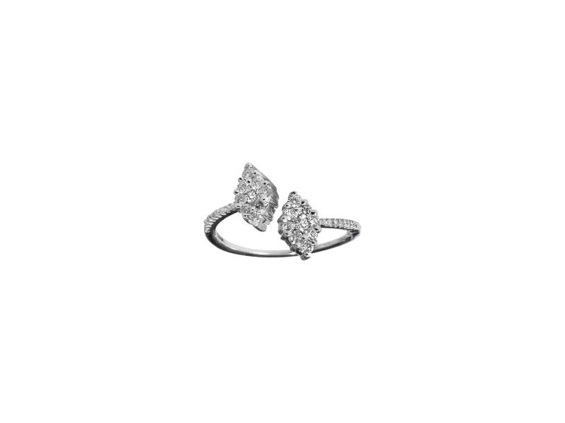 18k White Gold White Diamond Open Ring