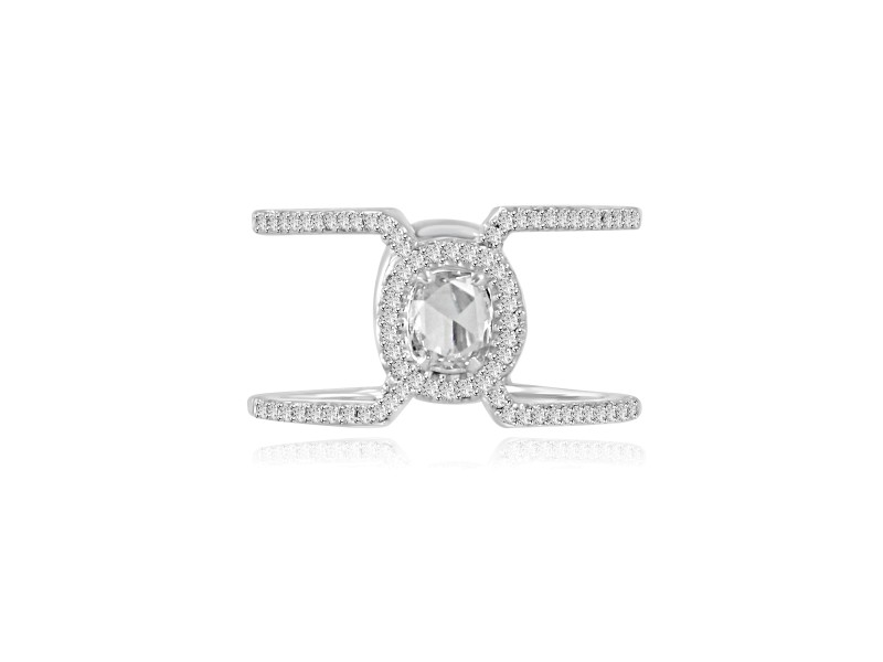 Rose Cut Diamond Ring in 18k White Gold