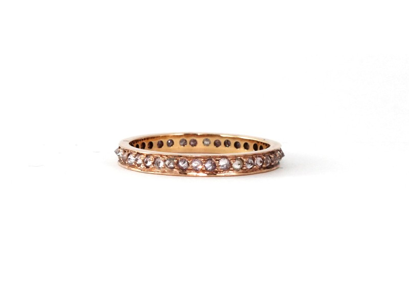 18k White Gold inverted Natural Pink Diamond Eternity Band
