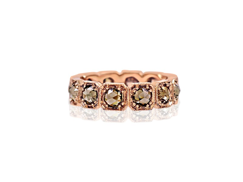 18k Rose Gold Champagne Rosecut Diamond Band