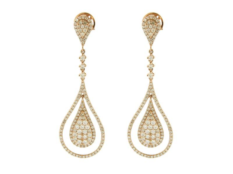 14K Rose Gold Diamond Drop Earrings
