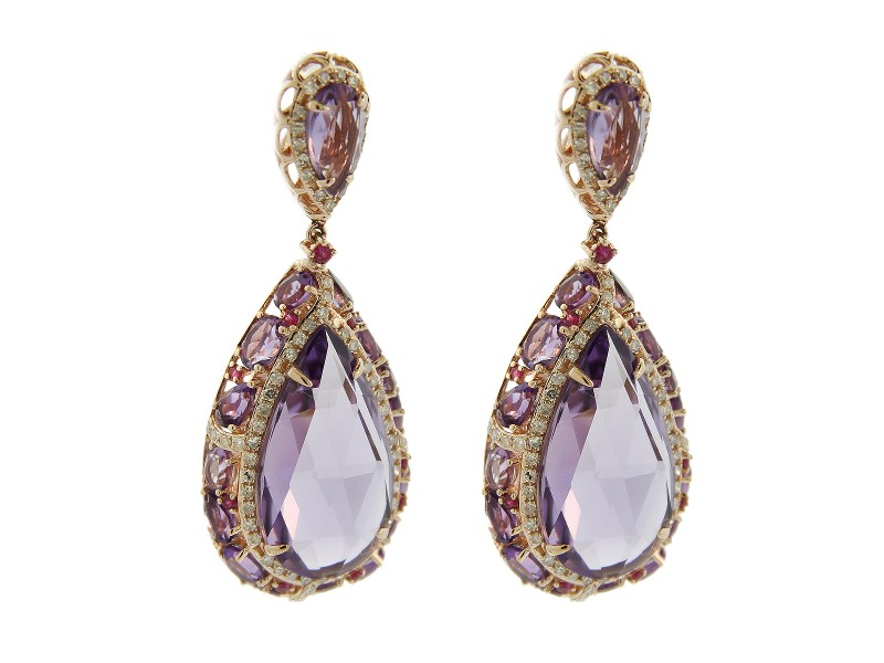 14K Rose Gold Amethyst and Diamond Drop Earrings