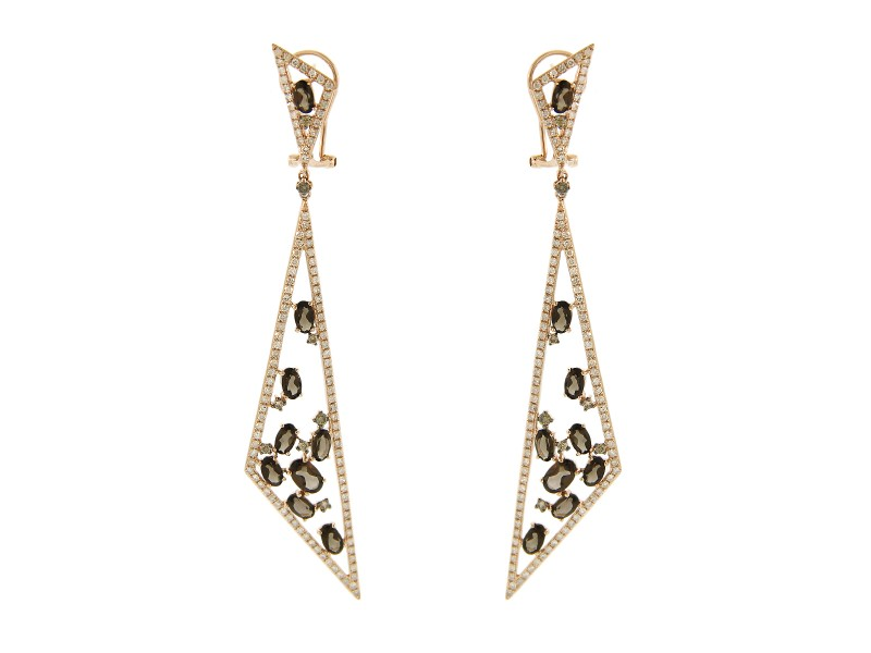 14K Rose Gold Amethyst Diamond Triangular Drop Earrings