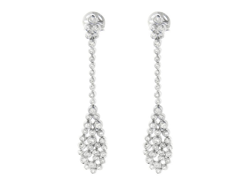14K White Gold Diamond Tear Drop Earrings