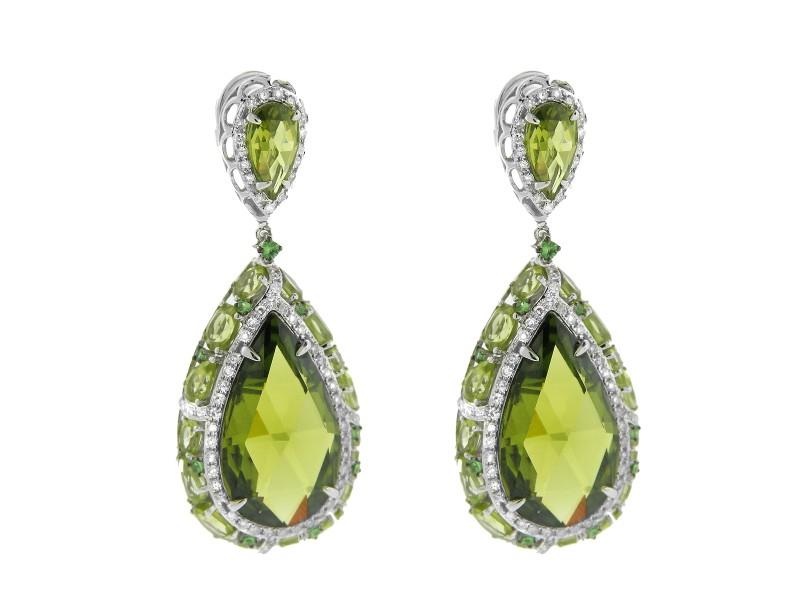 14K White Gold Diamond and Garnet Tear Drop Earrings