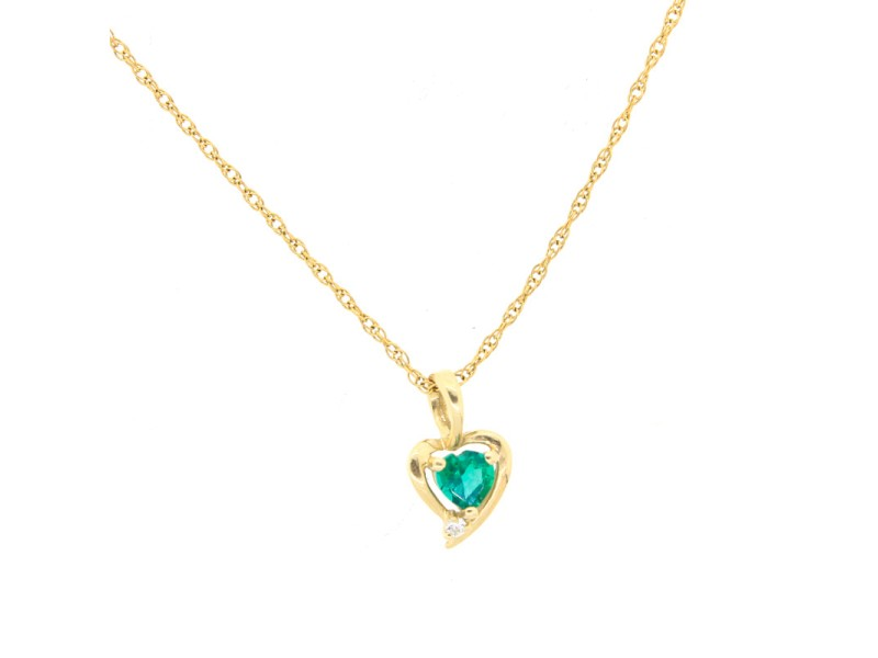 10K Yellow Gold Natural Emerald Pendant and Cubic Zirconia with 14k Yellow Gold Chain