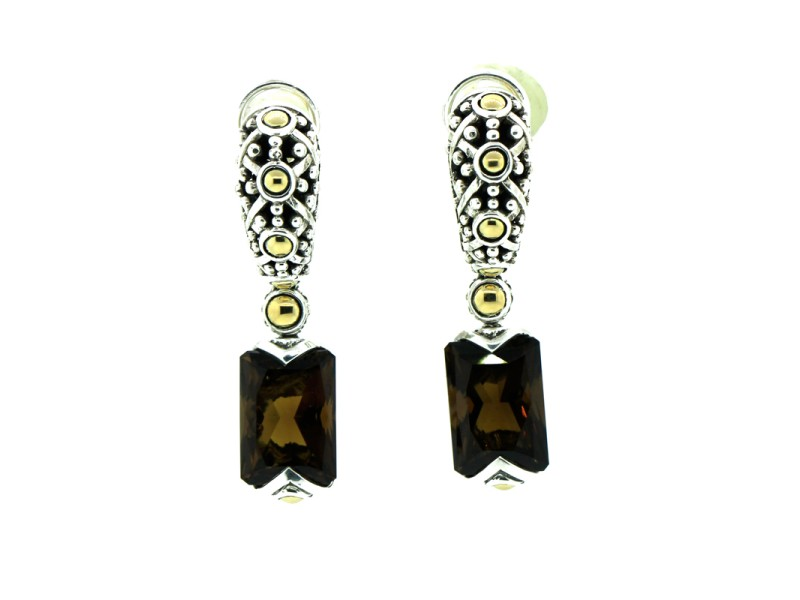 John Hardy 18K Yellow Gold and Sterling Silver Smokey Topaz Earrings