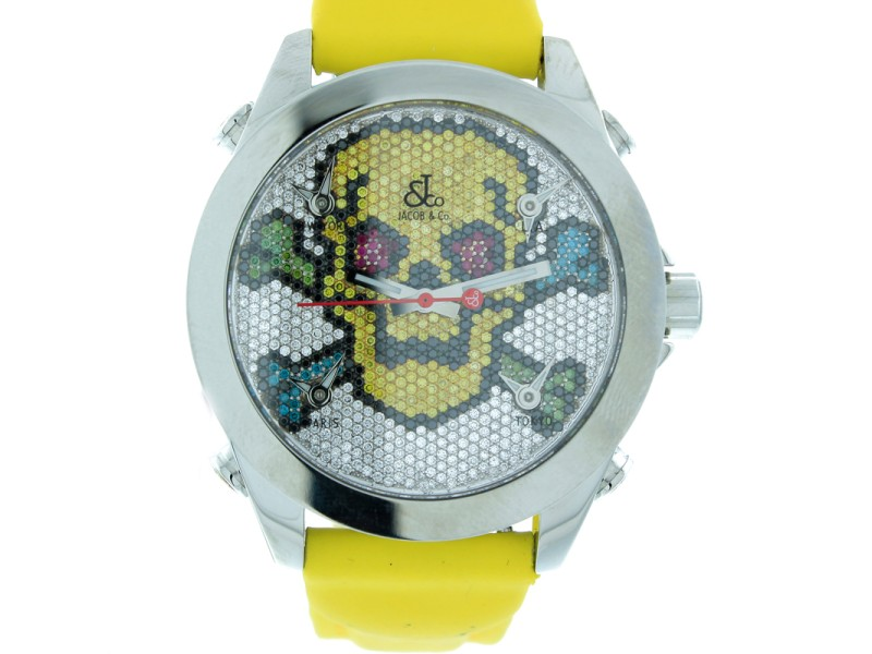 Jacob & Co. Five Time Zone Diamond Pave Skull Unisex Watch