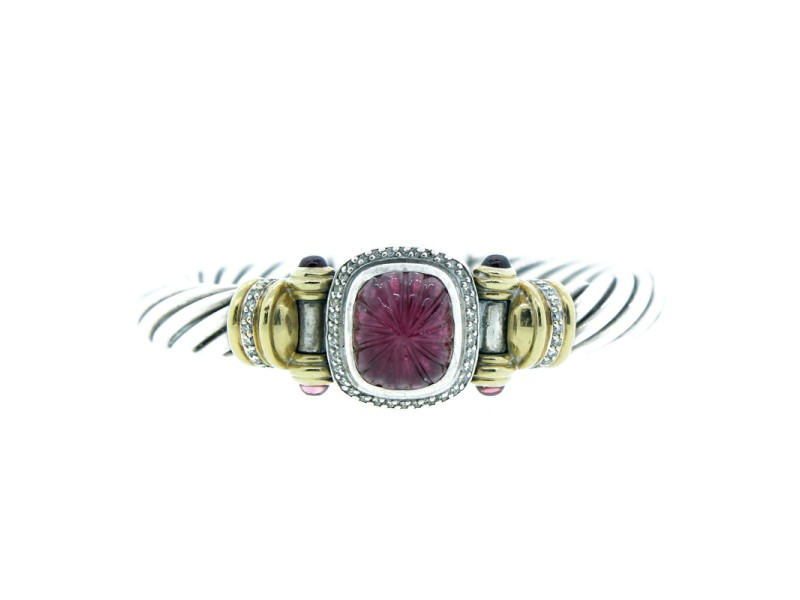 David Yurman Sterling Silver, Rubelite & Diamond Bracelet