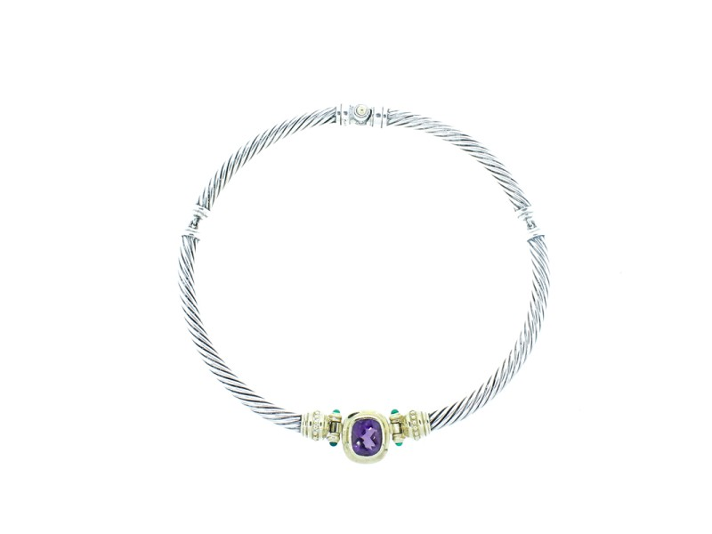 David Yurman Sterling Silver, Amethyst & Chrysoprase Choker Necklace