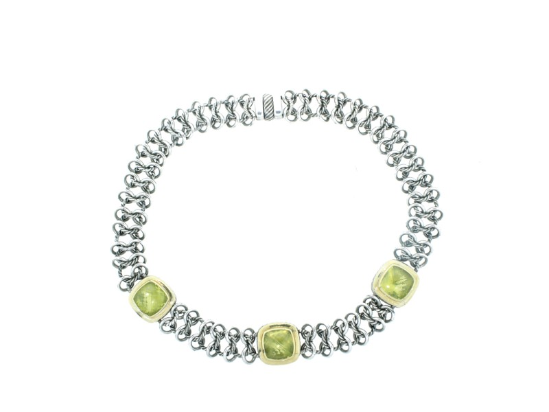 David Yurman Sterling Silver Prasiolite Stone Necklace