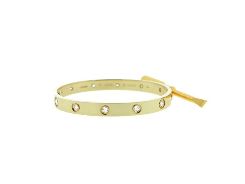 Cartier Love Bracelet Yellow Gold 10 Diamonds Size 19