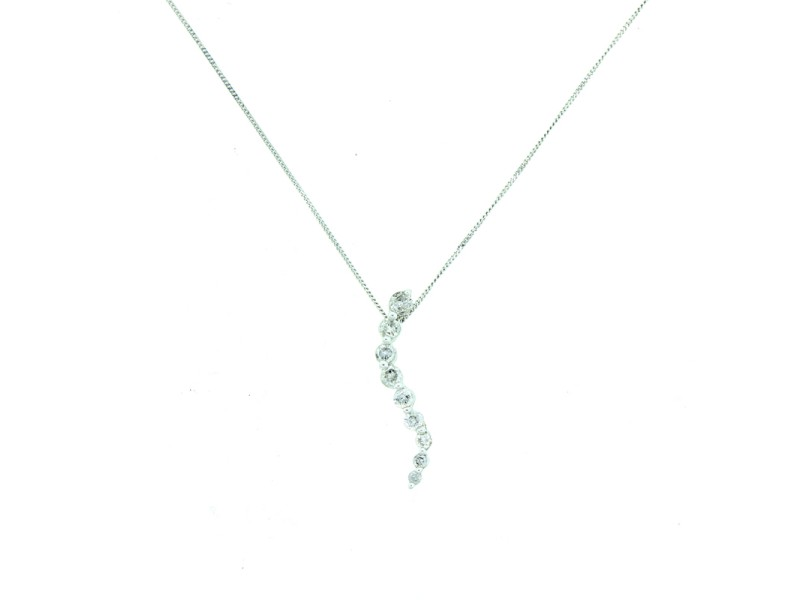 14K White Gold Journey Diamond Necklace