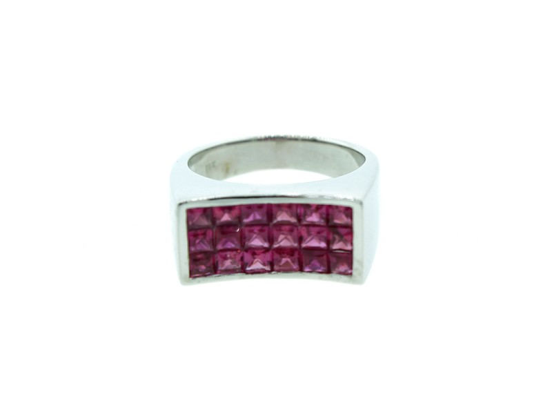 18K White Gold Invisible Setting Pink Sapphire Ring