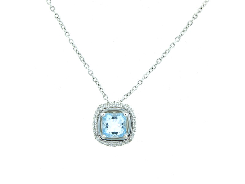 18K White Gold Aquamarine and Diamond Necklace