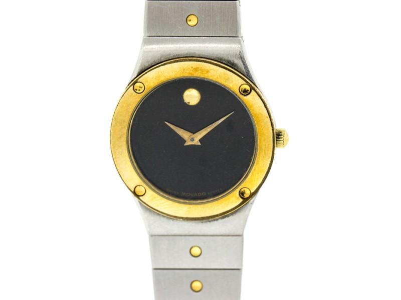 Movado Ladies Watch Museum Gold Plated Two Tone