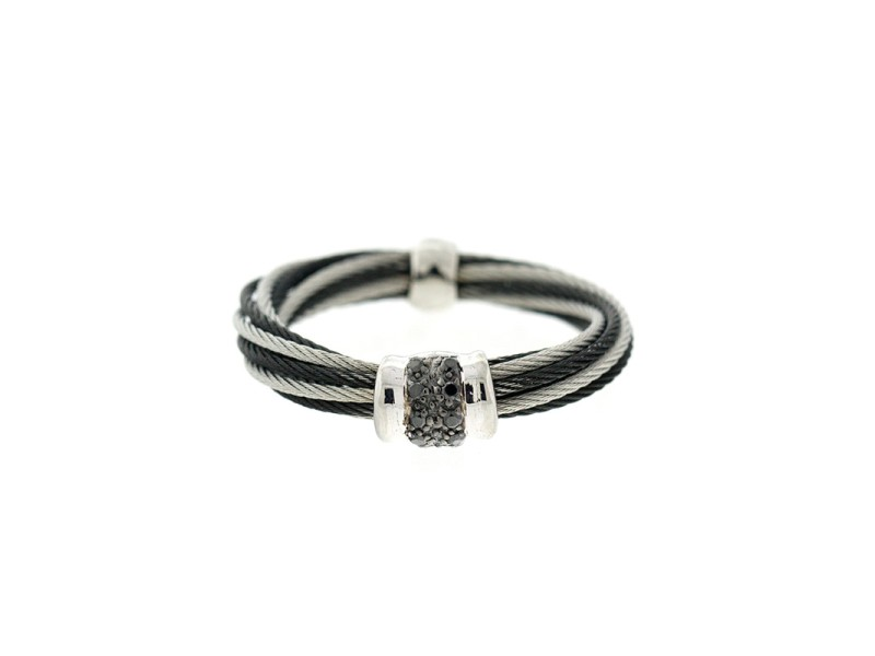 Alor 18K White Gold/Stainless steel & Black PVD & GRAY Stainless steel cable RING