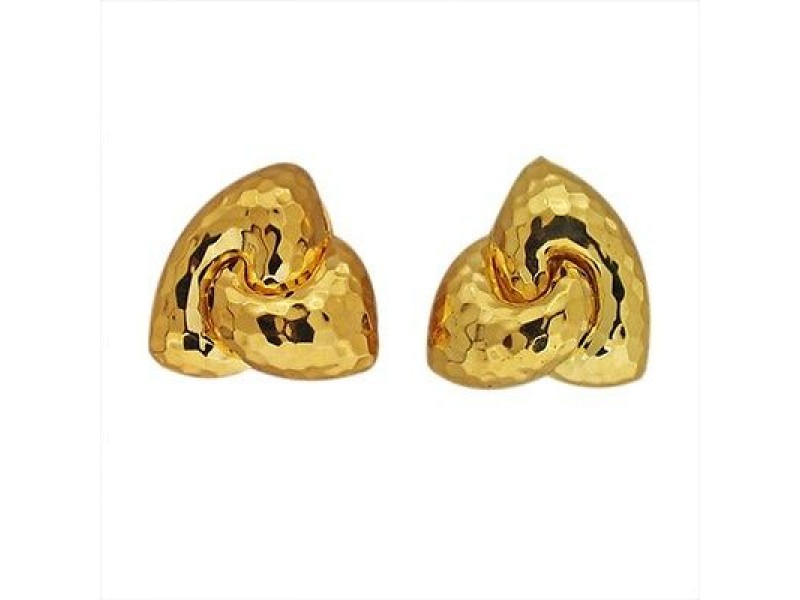 Henry Dunay Hammered 18K Yellow Gold Clip Post Earrings