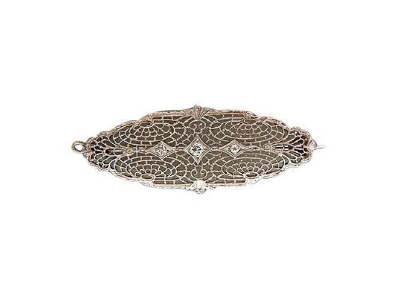 Vintage Esem Edwardian Art Deco 14k Gold Platinum Pierced Filigree Diamond Pin