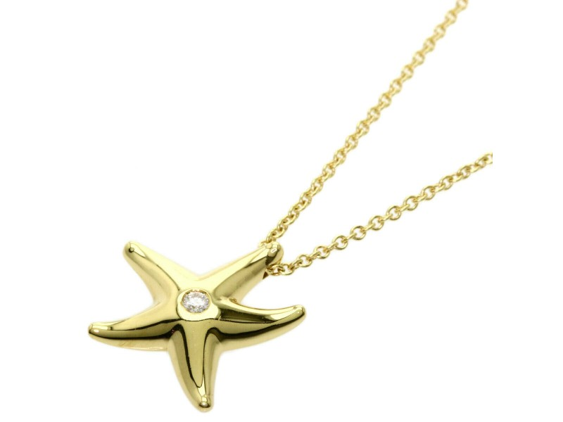 TIFFANY & Co. 18k Yellow Gold Diamond Starfish Necklace