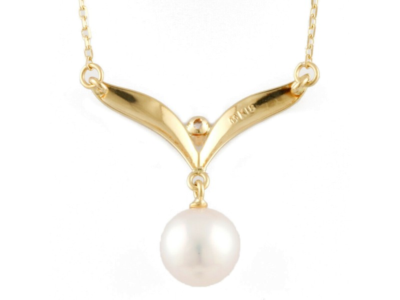 MIKIMOTO 18K yellow Gold Pearl Diamond Necklace