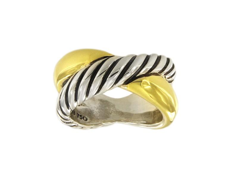 David Yurman 18k Gold And Sterling Silver Crossover Ring