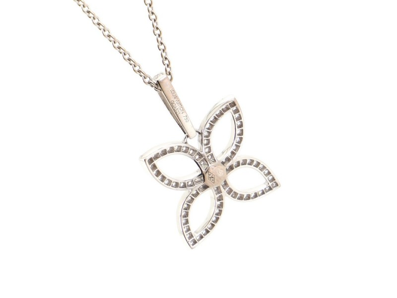 Louis Vuitton Flower Pendant Necklace 18K White Gold with Diamonds