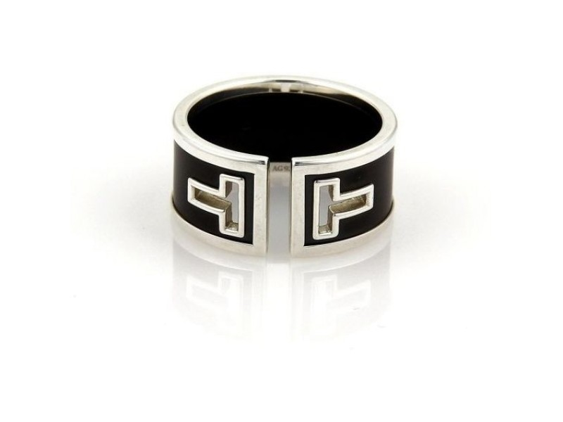 Tiffany & Co. 925 Sterling Silver and Black Ceramic Ring Size 9