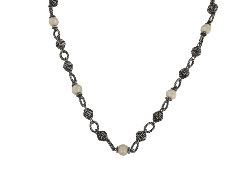 Vintage Town and Country Silver & 14k Gold Necklace with Pearls