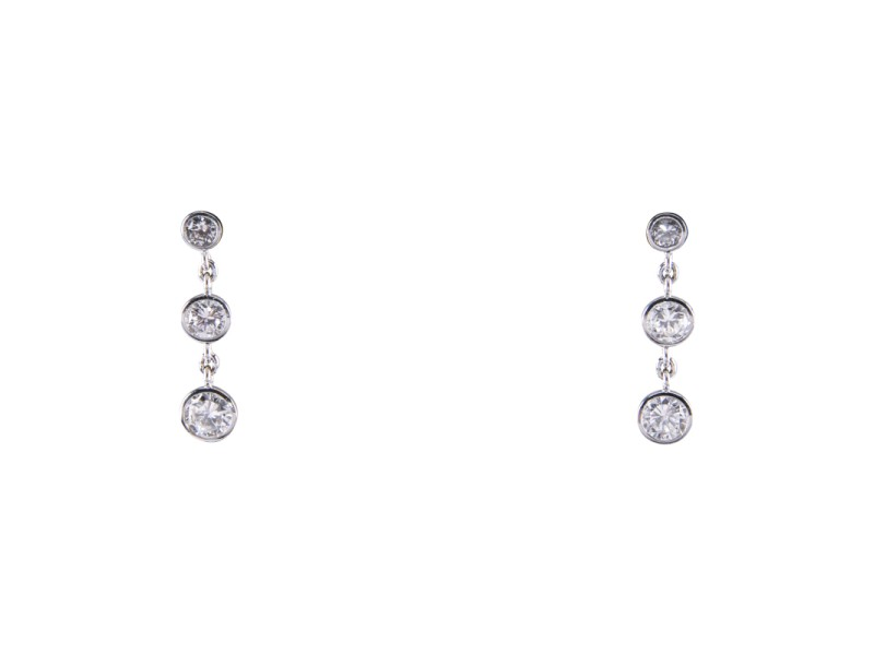 14K White Gold with 1.80ct Diamond 3-Stone Drop Earrings