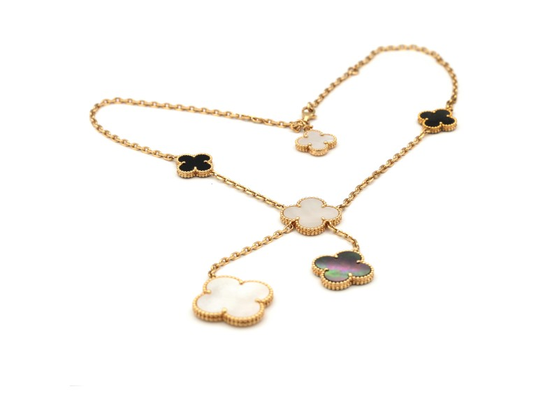 Van Cleef & Arpels Magic Alhambra Necklace 18K Yellow Gold Chalcedony Mother Of Pearl