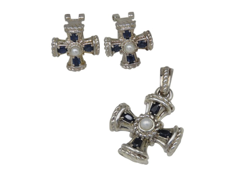 Judith Ripka 925 Sterling Silver with Blue Sapphire & Cultured Pearl Maltese Set of Cross Pendant & Earrings