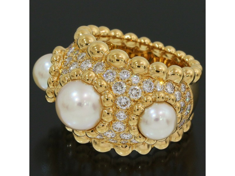 Chanel Baroque Pearl & Diamonds Band Ring