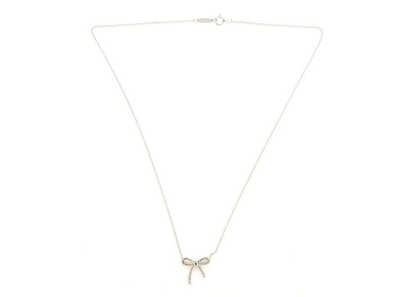 Tiffany & Co. Bow Pendant Necklace Platinum and Diamonds