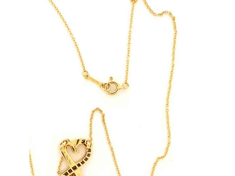 Tiffany & Co. Paloma Picasso Loving Heart Pendant Necklace 18K Yellow Gold with Diamonds