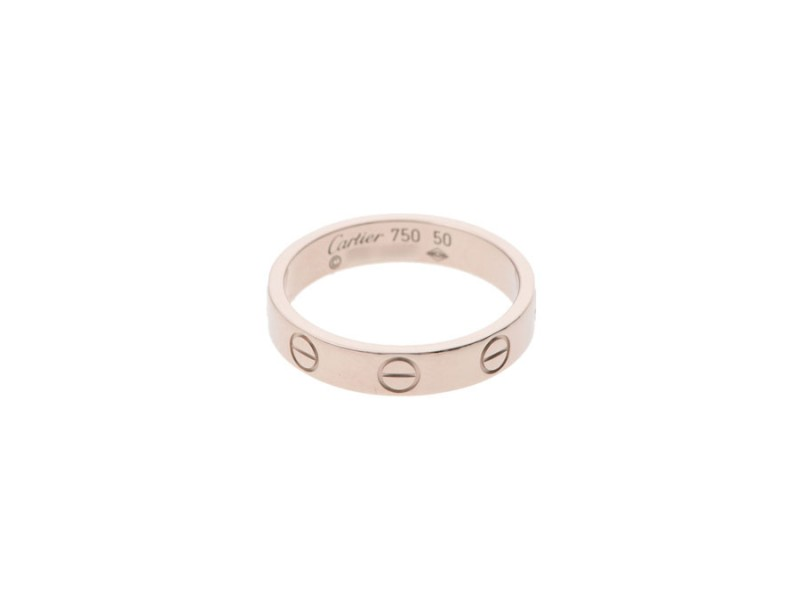 Cartier 18K White Gold Mini Love Ring Size 5.25