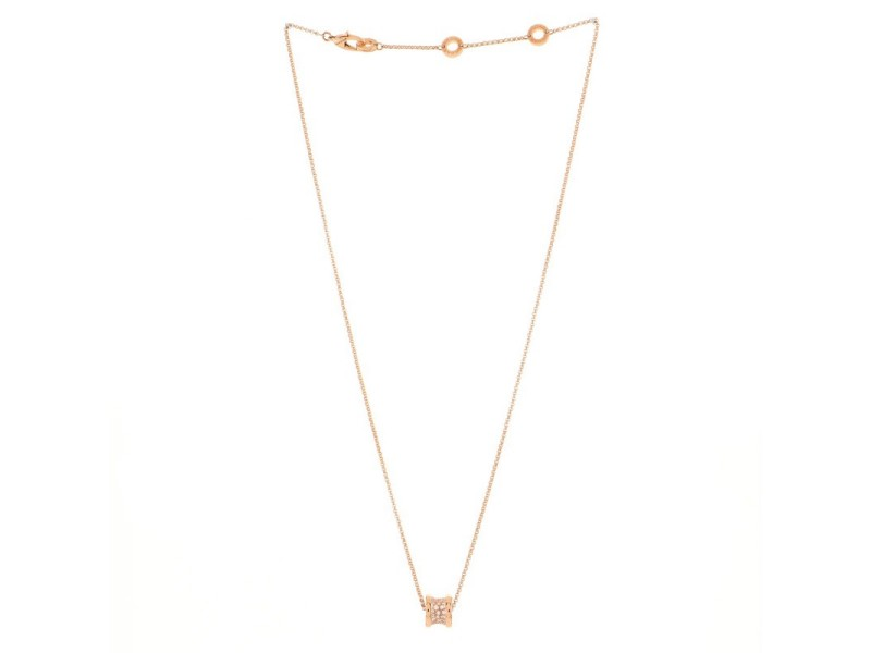 Bvlgari B.Zero1 Round Pendant Necklace 18K Rose Gold with Diamonds